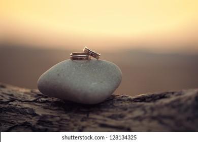 wedding rings lie on the sea rock