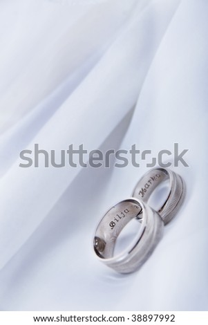 Wedding Rings Name On Silk Stock Photo Edit Now 38897992