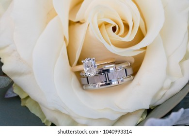 Wedding Rings on Bridal Bouquet