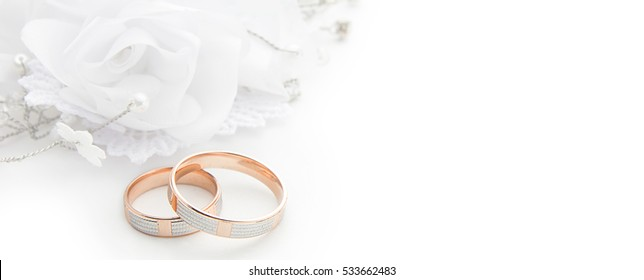 wedding rings on wedding card on a white background border design panoramic banner
