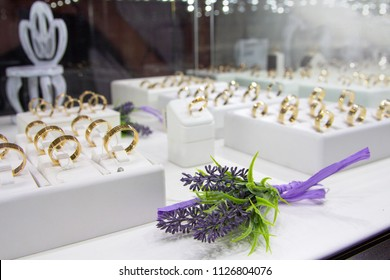 Wedding rings on the counter store. Sale