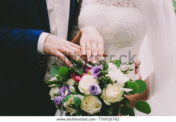 Wedding Rings On Fingers Hands Lie Stock Photo Edit Now 776926762