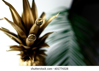 Wedding rings on a gold pineapple