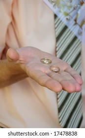 Wedding rings on grom's palm