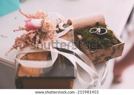 wedding rings on moss on table
