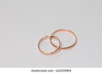 wedding rings on white background
