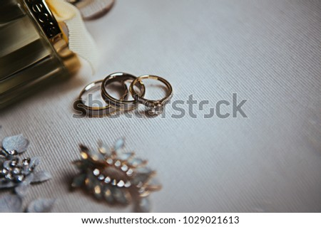 Wedding Rings On White Cloth Near Stock Photo Edit Now 1029021613