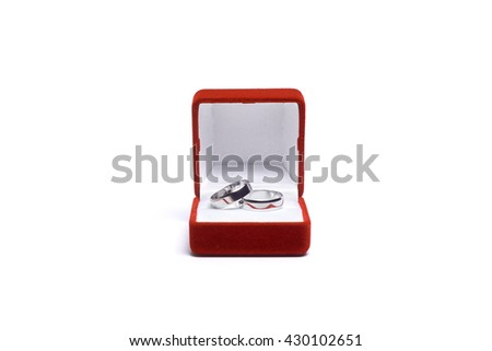Wedding Rings On Wooden Table Stock Photo (Edit Now) 430102651