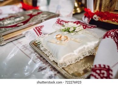 wedding rings prepared for the ritual