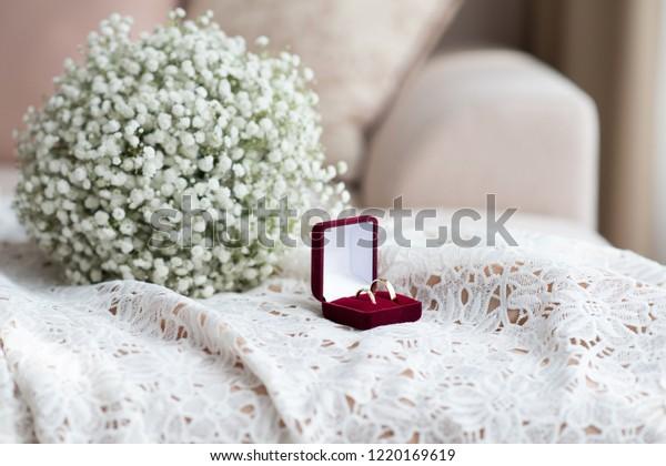 Wedding Rings Red Velvet Box Bridal Stock Photo Edit Now 1220169619
