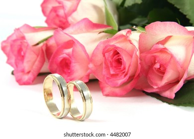 Wedding Rings Roses Stock Photo Royalty Free 4416487 Shutterstock
