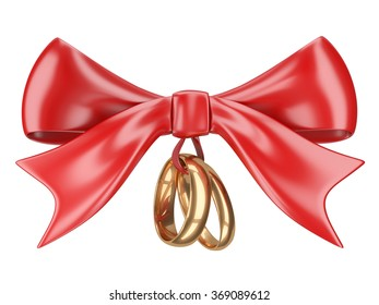 Wedding rings tied red ribbon and bow. Isolated on white 3d image.