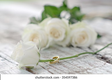 Wedding rings and white rose