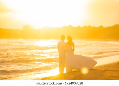 Wedding romantic couple on the beach in Dominican republic, Punta Cana
