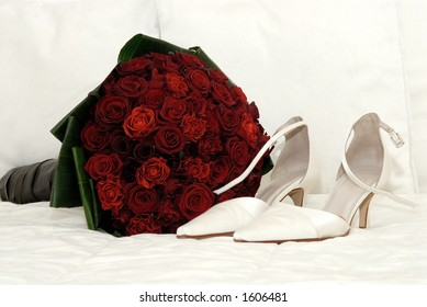 Wedding roses and shoes