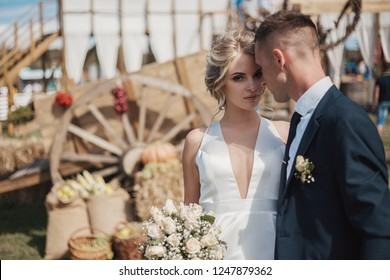 Wedding in a rura retro style. Portrait of a young couple of bride and groom on the background of the country landscape.