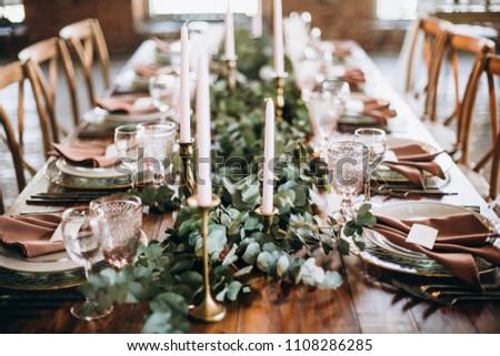 Wedding Rustic Style Wedding Table Decoration Stock Photo Edit Now