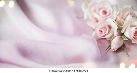 Wedding satin background, Spring rose