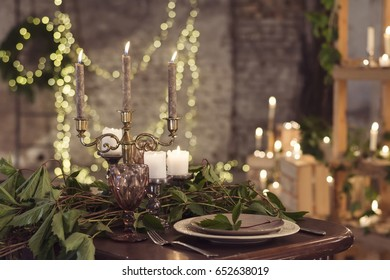 Wedding served table with candels, loft style decor