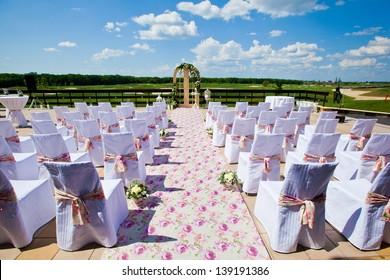 wedding set up in golf field