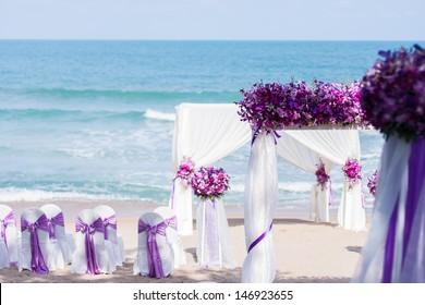 Wedding set up on the beach