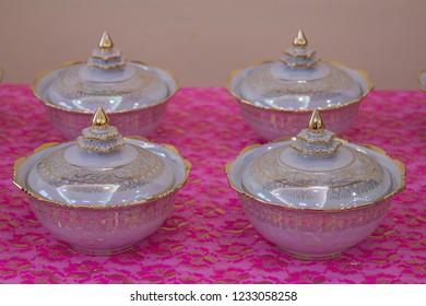 Wedding setup detail in Thailand. Thai porcelain with Benjarong, Ceramic old Thai design of bowl.