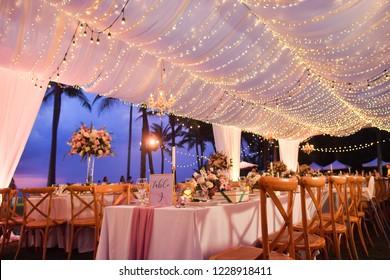 wedding setup dinner tables