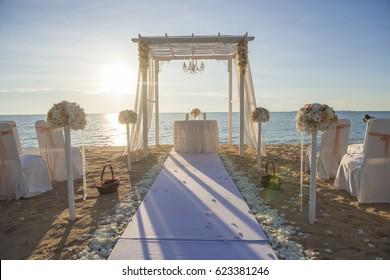 Wedding setup on beach