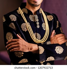 Wedding sherwani worn by the Indian groom