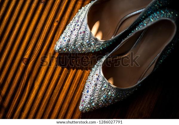 Wedding Shoes Bride Rhinestones Sun Glamorous Stock Photo Edit