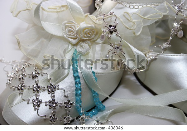 Wedding Shoes with garter ,bracelet and neckless