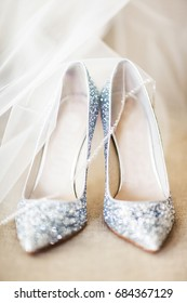 Wedding shoes and veil on the floor.