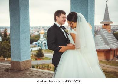 Wedding shot of bride and groom