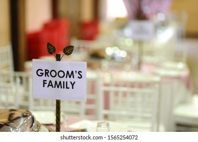 Wedding sign that's say groom's family