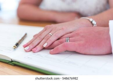 Wedding signing of register