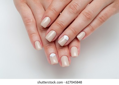 Wedding soft beige manicure with silver on square nails