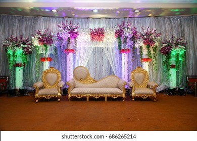 Wedding flower decoration images stock photos vectors shutterstock wedding stage with floral background and lighting junglespirit Gallery