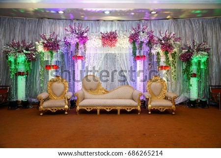 Wedding Stage With Floral Background And Lighting