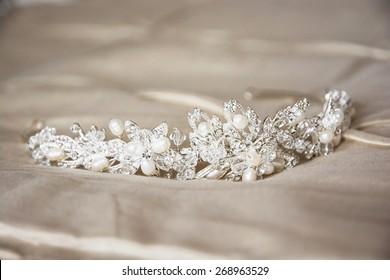 Wedding still life with beautiful tiara.