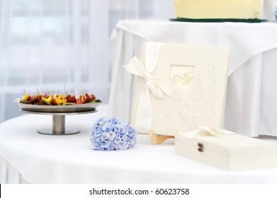 Wedding table with a beautiful guest book