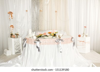 wedding table for the bride and groom