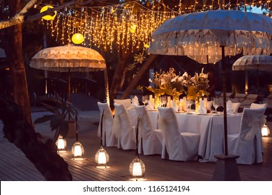Wedding table decor. Beautiful Luxury Festive table set up for wedding or party