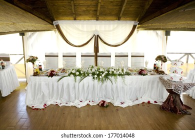wedding table with decor at the celebration venue