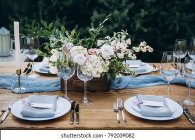 Wedding table decor in rustic style