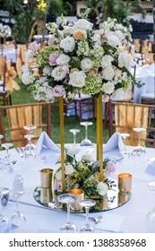 Wedding table decor setting. Flower Festive banquet dinner decoration