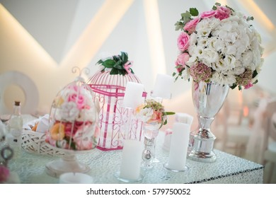 Wedding table decoration , close up view