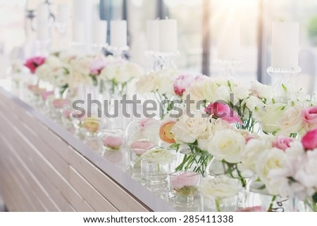 Wedding Table Decoration Flowers Candles Roses Stock Photo Edit Now