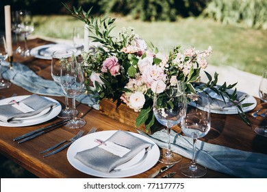 Wedding table decoration in rustic style