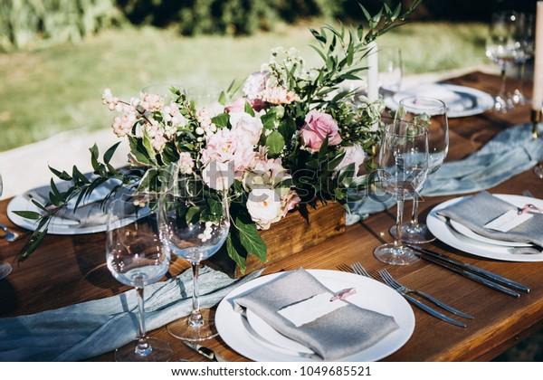 Wedding Table Decoration Table Setting Wedding Stock Photo (Edit ...