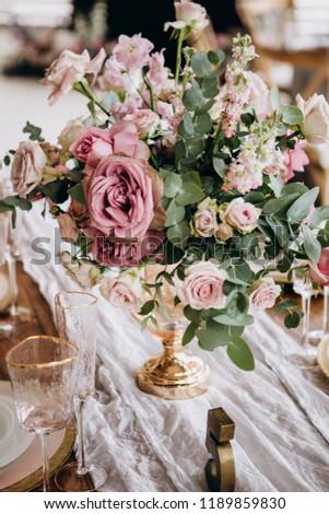 Wedding Table Decoration Setting Vintage Rustic Stock Photo Edit